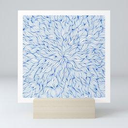 Blue seaweed mandala design Mini Art Print