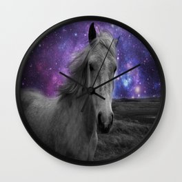 Horse Rides & Galaxy skies muted Wall Clock