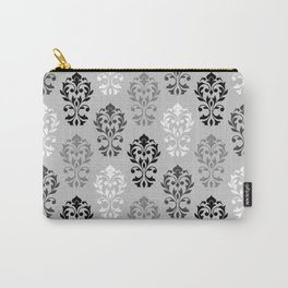 Heart Damask Art I Ptn Black White Greys Carry-All Pouch