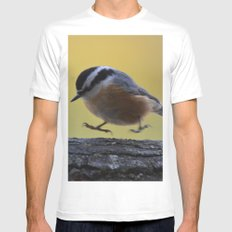 Red Breasted Nuthatch - Hopping Mad White MEDIUM Mens Fitted Tee