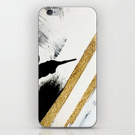Armor [8]: a minimal abstract piece in black white and gold by Alyssa Hamilton Art iPhone Skin