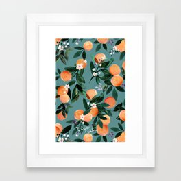 Dear Clementine - oranges teal by Crystal Walen Framed Art Print