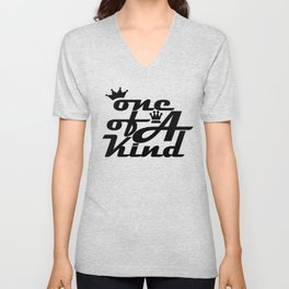 society6 typography 1 of a kind black text graphical Unisex V-Neck