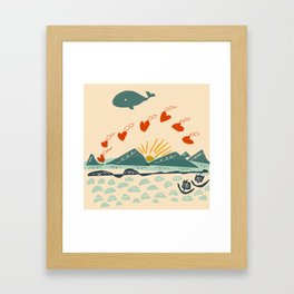 whale drops flying hearts Framed Art Print
