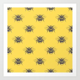 Sketched Bumblebee on Yellow - Smaller Pattern Art Print