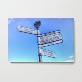 Edinburgh Castle Directions Post Metal Print