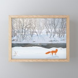 Fox in the winter forest hunting a duck Framed Mini Art Print