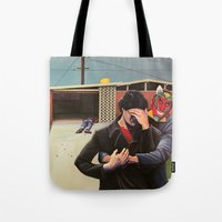 mid century modern Tote Bags featuring Mid Century Modern by Popcorn Jones