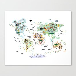 Cartoon animal world map for children, kids, Animals from all over the world, back to school, white Canvas Print