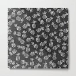 Tropical modern black gray pineapple fruit pattern Metal Print