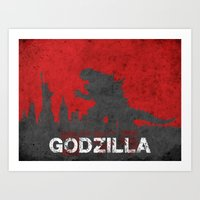 godzilla Art Prints featuring Godzilla by WatercolorGirlArt
