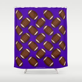 Footballs Design on Purple Shower Curtain