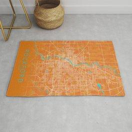 Rockford, IL, USA, Gold, Blue, City, Map Rug