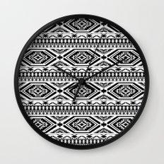 Aztec Geometric Print - Black Wall Clock