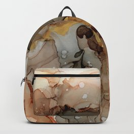 Abstract Ink - Earth Tones Gold Backpack