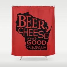 Red and Black Beer, Cheese and Good Company Wisconsin Graphic Shower Curtain