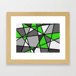 Triangels Geometric Lines green - grey - white Framed Art Print