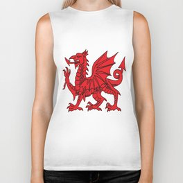 The Red Dragon or Y Ddraig Goch Isolated Biker Tank