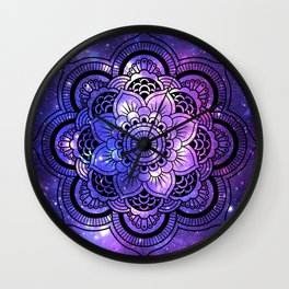 Mandala : Purple Blue Galaxy Wall Clock