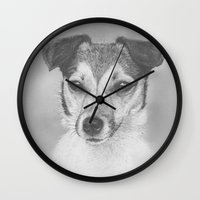 jack russell Wall Clocks featuring Jack russell by Mark Ferris