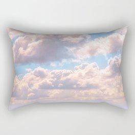 Illuminated fluffy clouds in a blue sky Rectangular Pillow