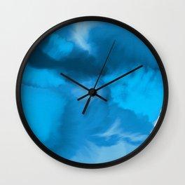 Ocean Blue Watercolor Abstract Wall Clock