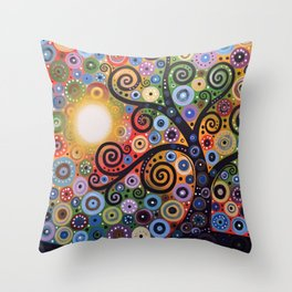 Abstract Art Landscape Original Painting ... Memory of Magic Throw Pillow