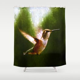 Moonlit Iridescence Hummingbird Shower Curtain