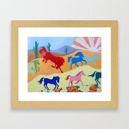 Sunshine Over Arizona Horses Framed Art Print