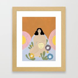 Taking care of the moon Framed Art Print