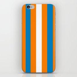 Vintage Nautical Stripes -Blue Orange White iPhone Skin