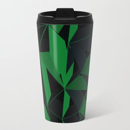 3D Futuristic Geometric Background (Green) Travel Mug