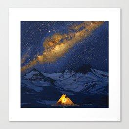 Glowing Tent Under Milky Way Canvas Print