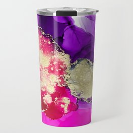 The lady ghosts (alcohol ink abstract in pink purple and gold) Travel Mug