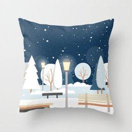 First Snow Fall in Central Park Throw Pillow