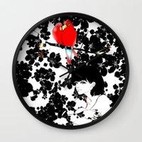 valentine Wall Clocks featuring Valentine by Priscilla Moore