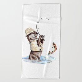 """"""" Natures Fisherman """" fishing river otter with trout Beach Towel"""