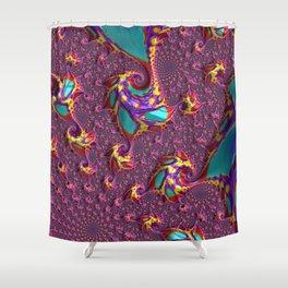Vibrant Spiraling Fractal Shower Curtain