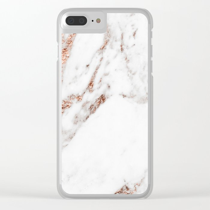 Rose gold foil marble Clear iPhone Case
