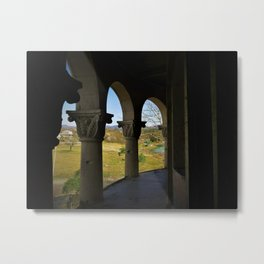 Broken Balcony View - old building with ornamented columns - photo Metal Print
