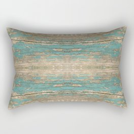 Rustic Wood - Beautiful Weathered Wooden Plank - knotty wood weathered turquoise paint Rectangular Pillow
