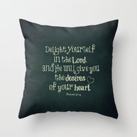 bible verse Throw Pillows featuring Delight in the Lord Bible Verse with Chalkboard Background by Quote Life Shop