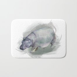 Watercolor Hippo Bath Mat