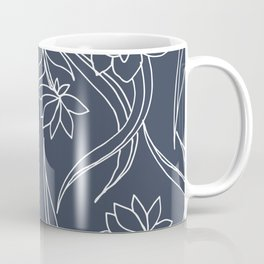 Floral Drawing in Blue Coffee Mug