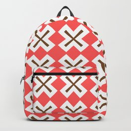 Chocolate Brown + Coral: Pattern No. 4 Backpack