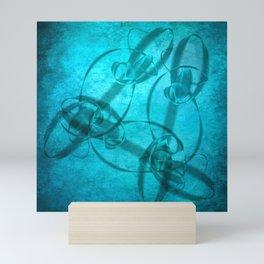 Textured fractal ribbons in aqua blue Mini Art Print