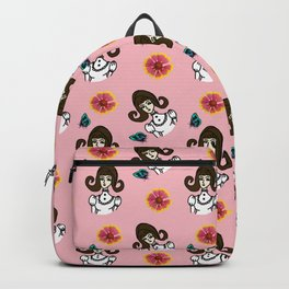 girl with dress  pink Backpack