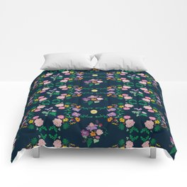 Floral garden Repeat Pattern Illustrated Print Comforters