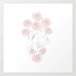 Heart anatomy with pink roses Art Print
