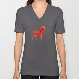 I Love Rams Wild Mountain Goats Big Horned Sheep CO Red Geometric Unisex V-Neck